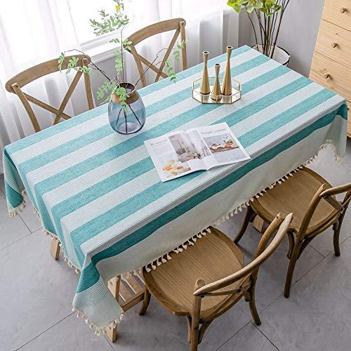 BH-JJSMGS Tovaglia da Cucina Soggiorno Nappa, Strisce tovaglie rettangolari abbinate a Strisce Verdi 110 * 170 cm