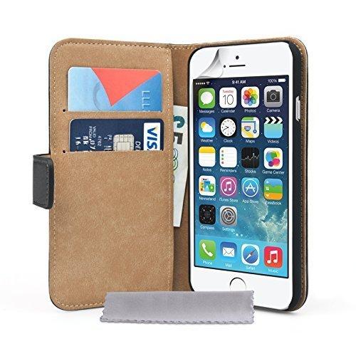 Caseflex Für iPhone 6 / 6S Tasche Schwarz Echt Leder Brieftasche Hülle -