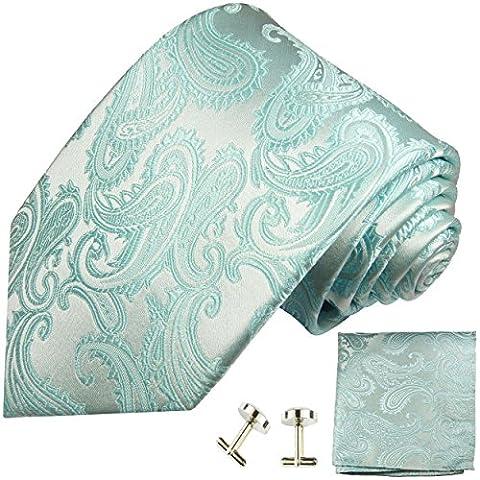 Mint green paisley necktie Set 3pcs 100% silk tie + handkerchief + cufflinks