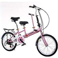 LETFF Bicicleta Plegable Doble para Padres y niños de 20 Pulgadas con Bicicleta de bebé,