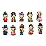 10pcs von koreanischen Marionettenfiguren Wandhalterung Magnetpapier Notizbuchhalter - traditionelle koreanische Kleidung Miniaturen - am besten für Kühlschrank, Umkleidebrett, Brett, Zelle, Whiteboard
