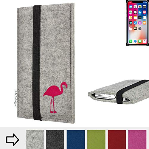 flat.design Handytasche Coimbra mit Flamingo und Gummiband-Verschluss für Apple iPhone X - Schutz Case Etui Filz Made in Germany in hellgrau schwarz pink - passgenaue Handy Hülle für Apple iPhone X
