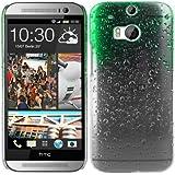 kwmobile Funda dura para HTC One M8 / Dual - Hard Case de plástico para móvil - Cover duro Diseño Gotas de lluvia en verde transparente