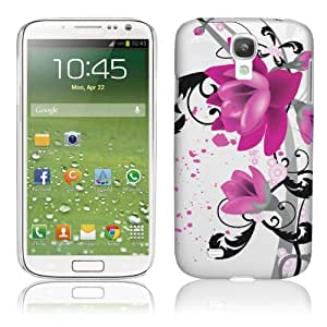 Samsung Galaxy S4 IV i9500 Purple Flower Hard Plastic Case - White Cover with Purple & Black Flower Design