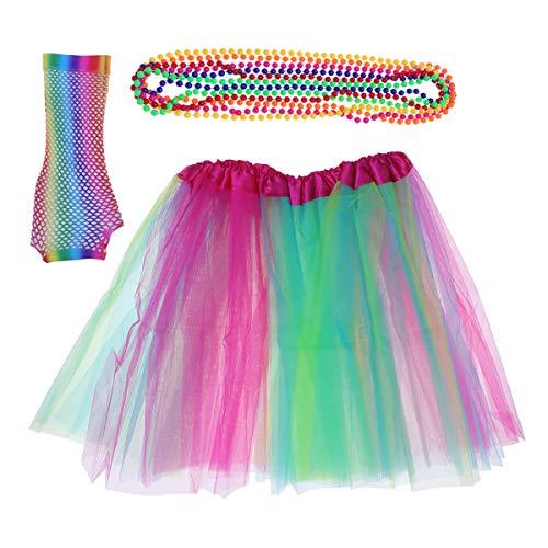 3pcs 80's Theme Party-Outfits mit Fischnetz-Handschuhen Halskette Tutu Rock für Erwachsene (80's Kostüm Beinstulpen)