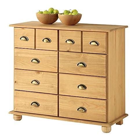 Apothekerkommode Kommode Apothekerschrank Sideboard COLMAR, 8 Schubladen, gebeizt/gewachst