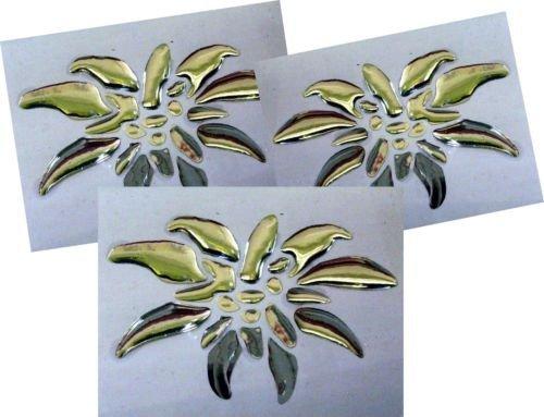 edelwei  aufkleber 3 d Chrom-Metall Edelweiß 3 x Größe L Sticker 70 x 50 mm