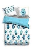 Tom Tailor Linon Kinderbettwäsche Roboter, Jeans, 135 x 200 cm, Bettbezug, Bettwäsche