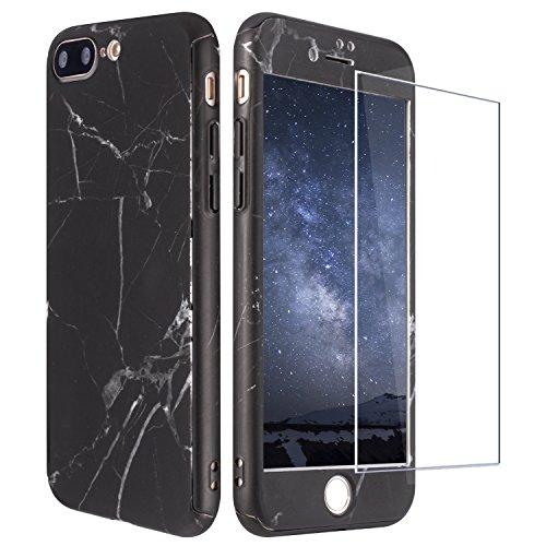 "iPhone 8 Plus Hülle Marmor, iPhone 7 Plus Hülle 360 Grad mit Panzerglas, ZXK CO 3 in 1 Hart PC Hülle mit Panzerglas Full Body Komplettschutz Schutzhülle für iPhone 7 Plus/8 Plus 5,5""- Marmor Muster"