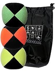 Conjunto de 3 bolas de malabares malabarismos con Flash Pro / naranja / bicolor verde amarillo (4 lados) en la bolsa de terciopelo completa