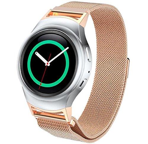Preisvergleich Produktbild Charge 2 Armbänd ,GSANJIN Roségold Silber Edelstahlband + Stecker Armband Für Samsung Gear S2 720