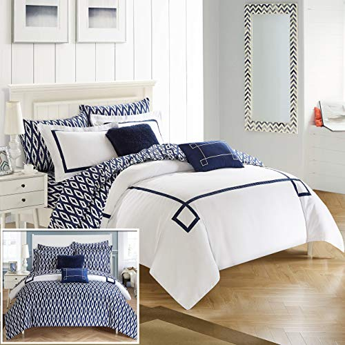 Chic Home cs3105-an 7Stück Trace modernes Griechischer Schlüssel bestickt wendbar Bett in einem Beutel Tröster Set mit Tabelle Set, Twin X-Large, Marineblau - In Einem Mikrofaser Aus King-size-bett Beutel