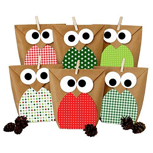 DIY Geschenktüten Set - Eulen rot - Mitgebsel für Kindergeburtstag - zum selber Basteln und Befüllen - von Papierdrachen (Papiertüte Basteln)