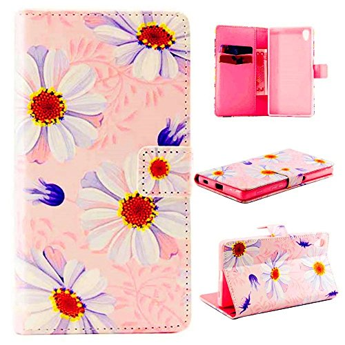 TKSHOP Custodia portafoglio in PU pelle per Sony Xperia Z5 Funzione di Sostegno Stand con la Copertura del Raccoglitore per la Carte Chiusura Magnetica Shock-Absorption + Penne Capacitive Stylus penna Rose per dispositivi touchscreen - Piccolo blu