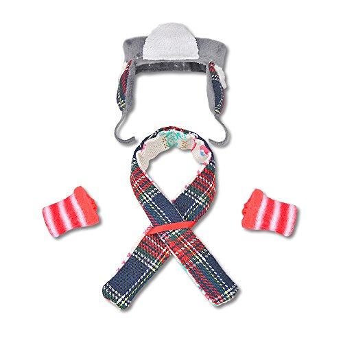 E-TING Santa Couture Kleidung für Puppen(Puppe Nicht Enthalten) (Hut + Socke + Schal)