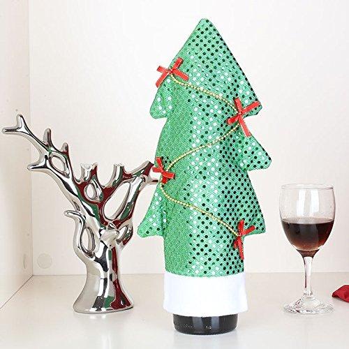 Pailletten-Weihnachtsgrüner Wein-Abdeckungs-Vliesstoff mit roten Bögen Kiefer (Wein Flaschen Kostüm Für Erwachsene)