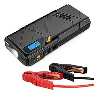 MoKo Arrancador de Coche 12000mAh – 1200A Jump Starter Portable Cargadores de Batería para Coche arrancador Emergencia con 2 Puertos USB, Flash LED de Emergencia, Amarillo