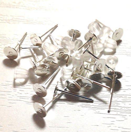 Round Type de plat Boucles d'oreilles argent argent argent 1,0 partie support avec une paire de prises de silicium avec pidestal pieces accessoires commerce de poudre 3d2ea9