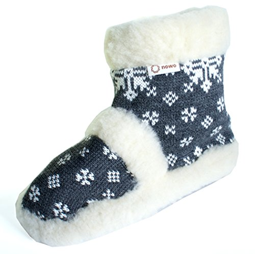 Cowshoes Naturali / Pantofole In Lana Naturale Su Suola Antiscivolo / Taglie 36-41 Grigio / Bianco