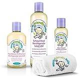 Lansinoh Earth Friendly Baby 4-in-1 STARTER-SET Lavendel: Waschlotion, Schaumbad, Baby-Pflegeöl und Waschhandschuh