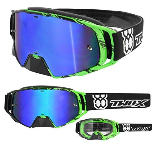 TWO-X Rocket Crossbrille Crush schwarz grün Glas verspiegelt blau MX Brille Nasenschutz Motocross Enduro Spiegelglas Motorradbrille Anti Scratch MX Schutzbrille Nose Guard