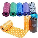 Yililay 5 Rolls Dog Poop Biodegradable Bolsa de la camada de Recarga Rolls Prueba de Fugas para Mascotas Desperdicio de Bolsas Gato Bolsa ecológico Color al Azar, Suministros de Mascotas