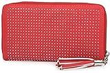 styleBREAKER Designer Geldbörse mit All Over Strass Nieten Applikation und Quaste, Damen 02040028, Farbe:Rot