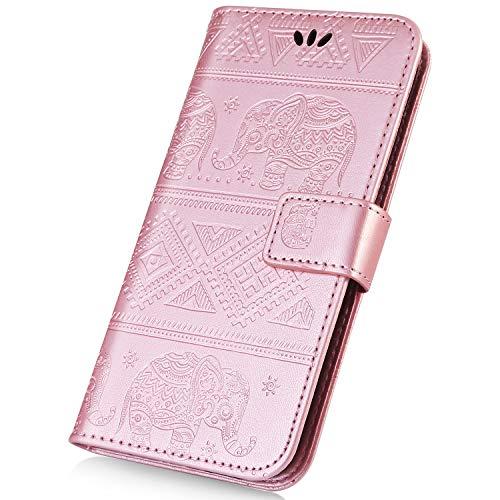 Preisvergleich Produktbild Xiaomi Redmi 6 Pro Hülle, Surakey PU Leder Wallet Tasche Brieftasche Schutzhülle Elefant Muster Handytasche Flip Hülle Ledertasche Kunstleder Tasche Cover für Xiaomi Redmi 6 Pro,  Rose Gold