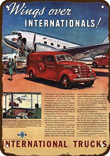 Rebecca Simpson 1940 International USPS Airmail Truck Vintage Look Metal Sign 7