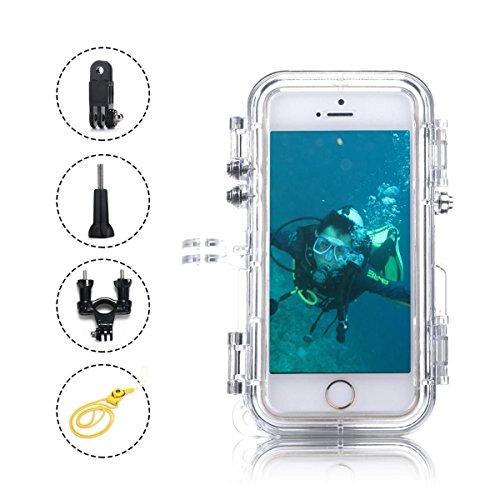 Timeworker iPhone 5//5C/5S/5SE Coque, Coque IP68 Certifié étanche jusqu'à 35 Pieds avec 120 degrés objectif et cordon étanche/résistant aux chocs/étanche à la poussière (Noir)