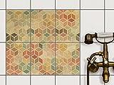 creatisto Fliesen Folie Sticker Aufkleber selbstklebend | Fliesenverkleidung Designfolie Badezimmer renovieren Küche Baddekoration | 15x20 cm Design Motiv 3D Retro - 6 Stück