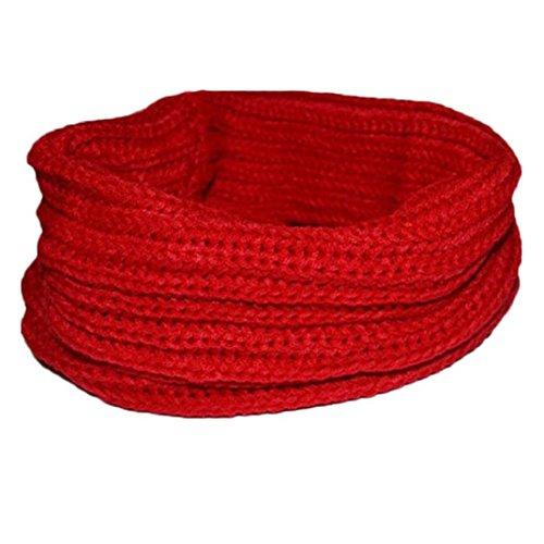Transer ® Femelle Écharpes,Mode féminine chaud tricot cou Cercle laine mélangée Cowl Snood polyvalent en laine Écharpe Promotion Hot en Europe Rouge