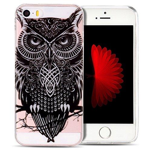 Cover iPhone 5S Spiritsun Case iPhone 5 Custodia iPhone SE Moda Ultraslim Trasparente Soft TPU Case Handy Cover High Quality Case Elegante Souple Flessibile Liscio Copertura Perfetta Protezione Shell  Gufo