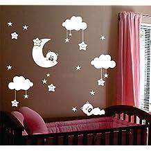 Cute bebé tamaño grande sala vivero luna y estrellas pegatinas vinilo pared, una bonita sonrisa con nubes blancas estrellas bebé decoración de la habitación