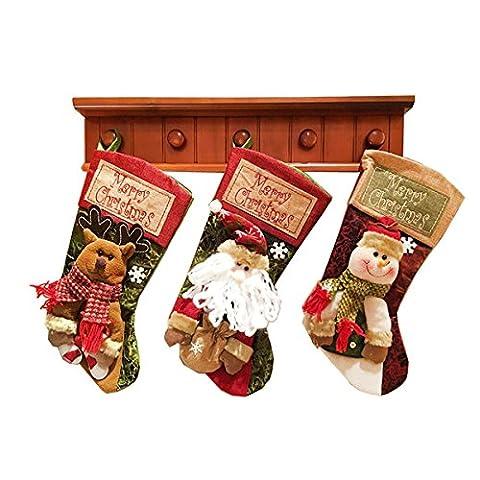 Bas de Noël, koiiko® 3pièces/set cadeau de Noël suspendu décorations de Noël intérieur Grand Candy sacs chaussettes/sapin de Noël/Décoration Parti Décoration festival de cheminée
