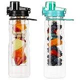 ISS Bottiglia Acqua con Infusore Bottiglia Sport da 750ML (25OZ) con Doppio Filtro per Frutta, Design con Tappo Ermetico, Antiscivolo Bottiglia d'Acqua in Tritan Senza BPA