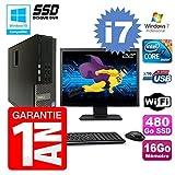 Dell PC 7010 SFF Intel I7-3770 RAM 16Go Disque 480Go SSD DVD Wifi W7 Ecran 22'