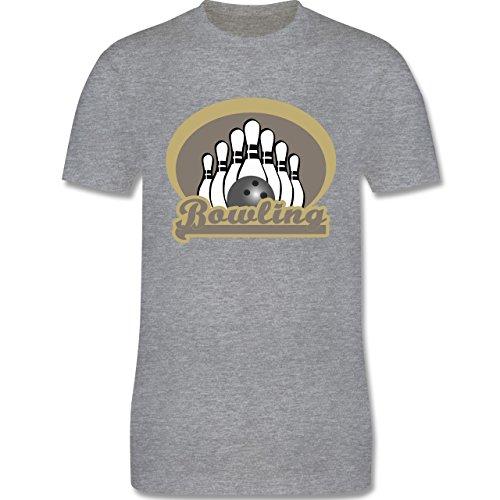 Bowling & Kegeln - Bowling Old School - Herren Premium T-Shirt Grau Meliert