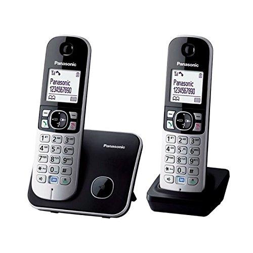 Panasonic KX-TG6812FRB - Teléfono (Teléfono DECT, Terminal inalámbrico, Altavoz, 100 entradas, Identificador de llamadas, Negro, Plata)