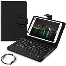 """kwmobile Funda con teclado QWERTZ para 7-8"""" Tablet con soporte - Funda protectora de piel sintética en negro - compatible por ej. con Apple, Samsung"""