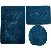 3  Teilig Badgarnitur 85x55cm Petrol Blau Badset Delphin Hänge WC  Badematten Badteppich
