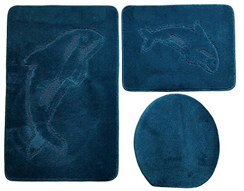 3- teilig Badgarnitur 85x55cm petrol blau Badset Delphin Hänge-WC Badematten Badteppich