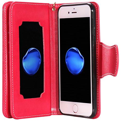 iPhone Case Cover Gepresste Blumen Geprägte Mädchen und Katzen-Muster PU-Leder-Kasten-Abdeckung mit Handschlaufe und 9-Karten-Slot-Foto-Rahmen für IPhone 7 4.7 Zoll ( Color : Gold , Size : IPhone 7 4. Red