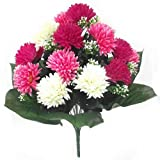 45cm Large Artificial Spiky Ball Mum Pink & Cream flower bush Home Grave Wedding