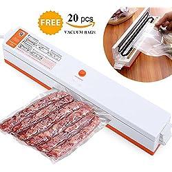 Sigillatore a vuoto, imballatrice a vuoto 220V, imballaggio automatico di conservazione con kit di avvio per risparmio alimentare con 20 pacchetti di sigillanti per regalo gratuito