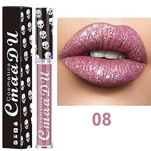Rouge à lèvres imperméable Sexy 8 Colores Nude MetáLico Mate Terciopelo Brillante Labial Brillo Lipstick Crema (H)