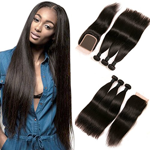 DAIMER Brazilian Straight Hair Bundles with Closure 4x4 Lace Frontal 3 Bundle...