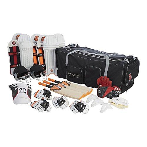RAM Cricket Club Team-Set,Schläger, Beinschutze, Handschuhe, Helm, Tasche,erhältlich in 4Größen, Jugendliche -