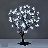 Christmas Xmas LED Lights Pre-Lit Cherry Blossom Bonsai Tree Indoor Outdoor (White 48LED / 45 cm)