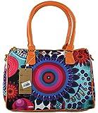 #1192 Damen Designer Handtasche Tasche Henkeltasche Patchwork Bowlingbag Kunstleder Canvas Braun Khaki Schwarz Blau Orange Gelb